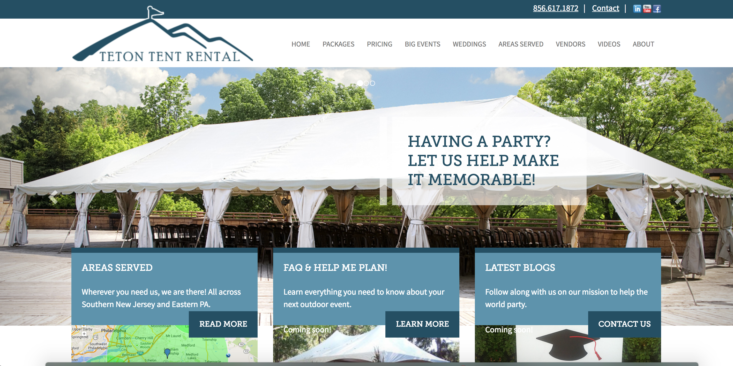 Teton tent rental home page
