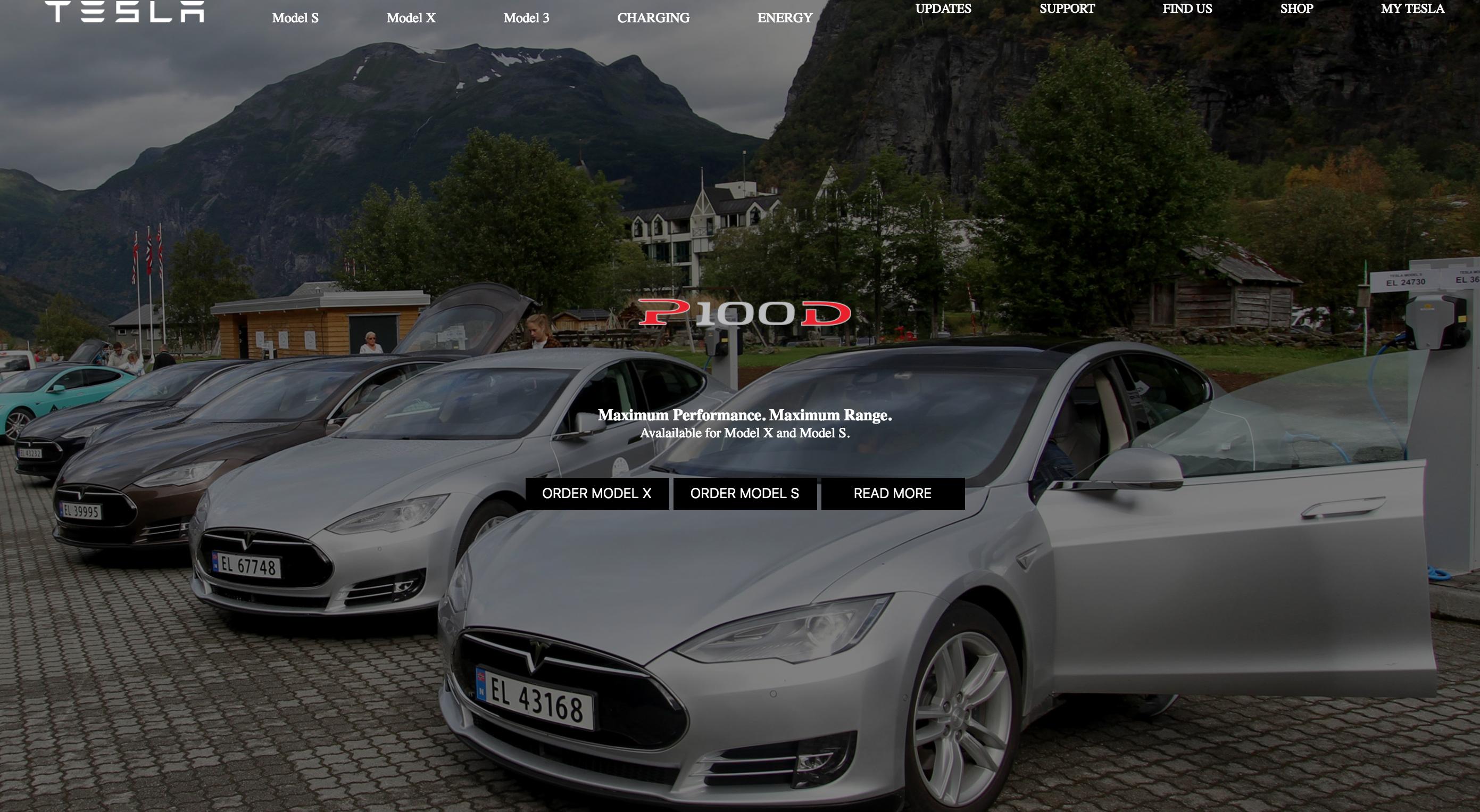 Tesla homepage mockup