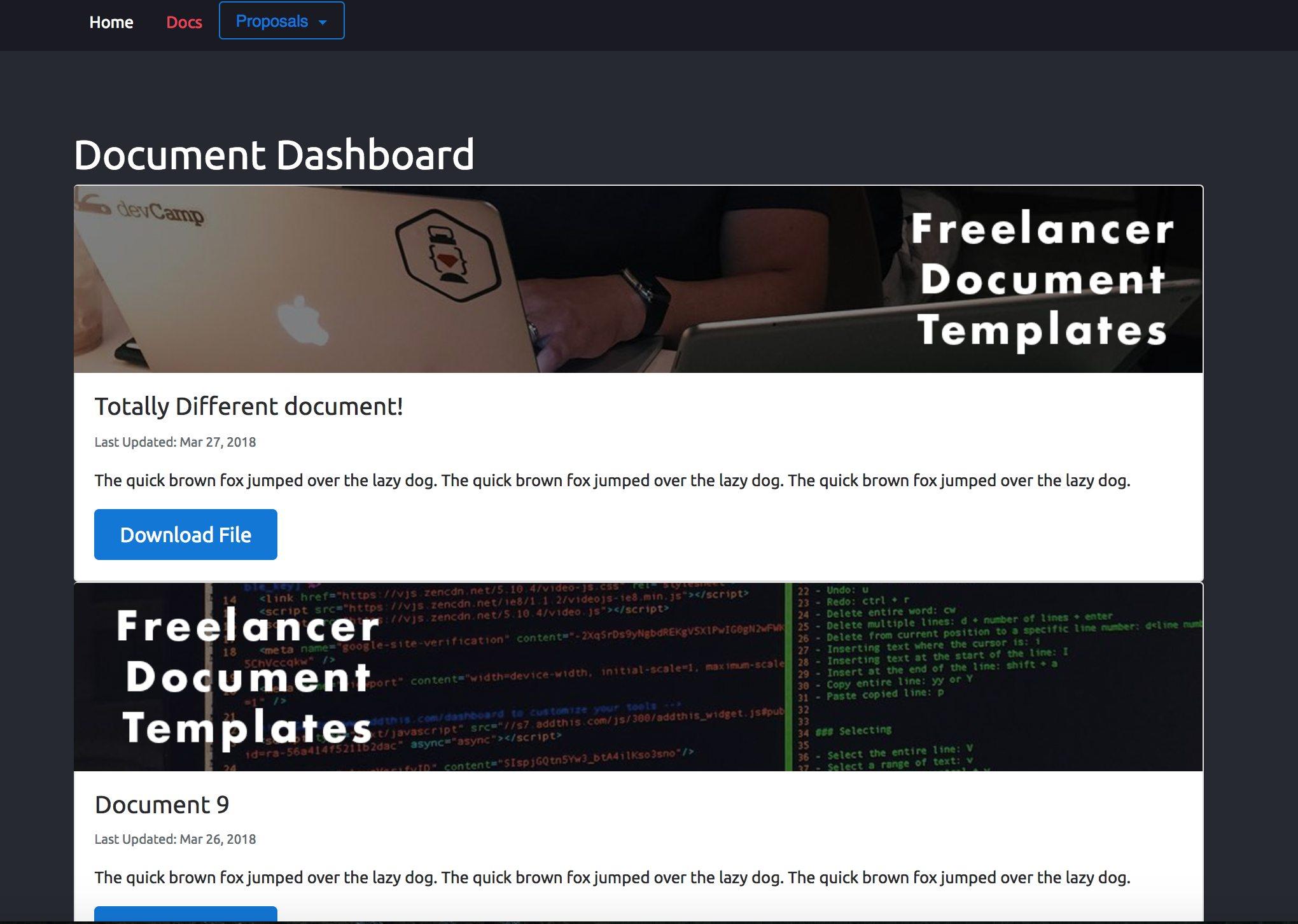 Freelance dashboard documents