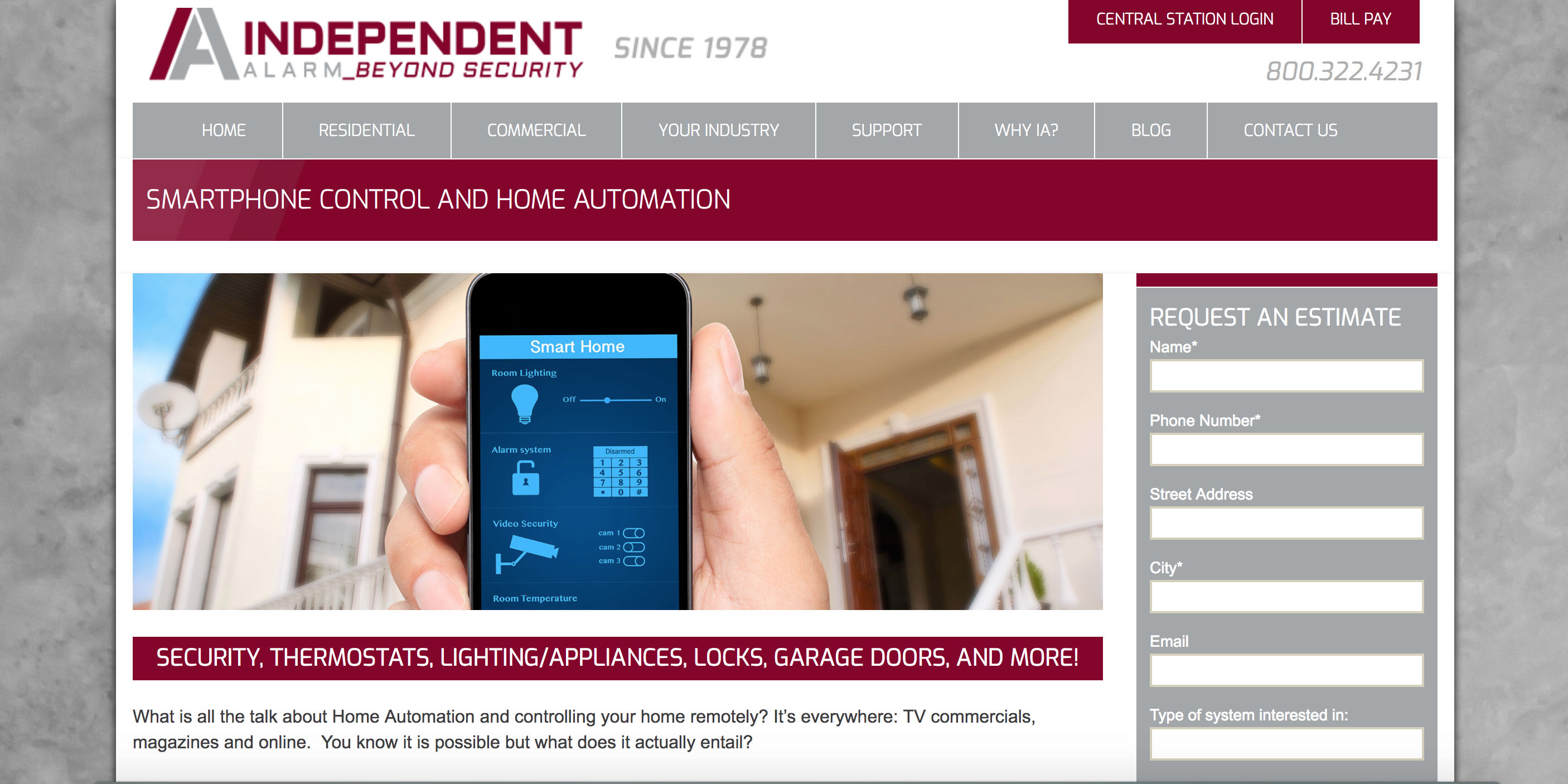 Independent alarm home page