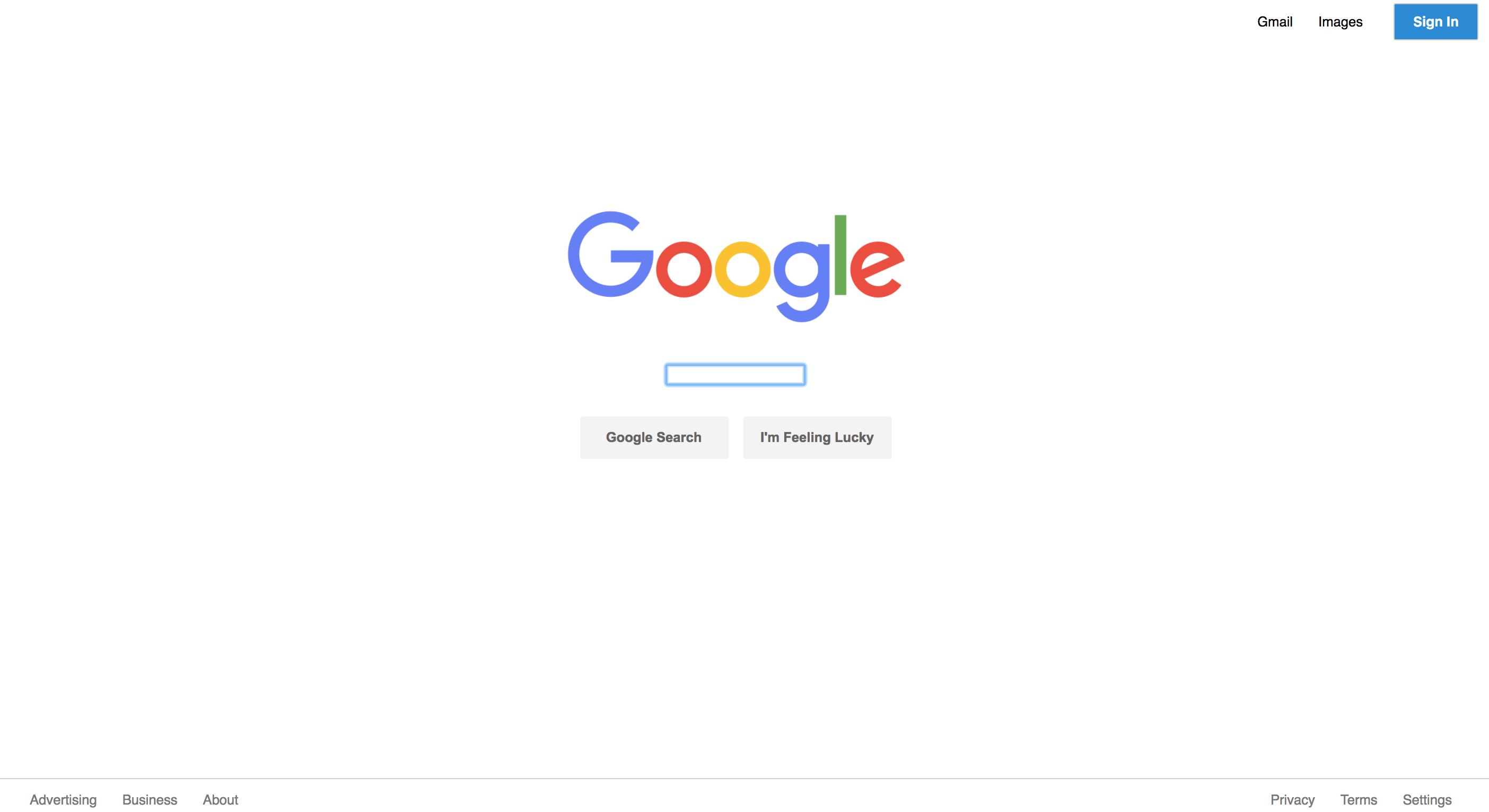 Google home page mockup